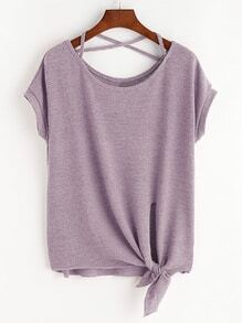 Pink Criss Cross Knot Side T-shirt