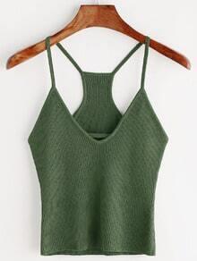 Army Green V Neck Ribbed Knit Cami Top