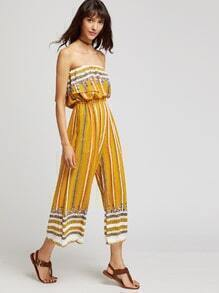 Yellow Off The Shoulder Layer Tribal Print Jumpsuit