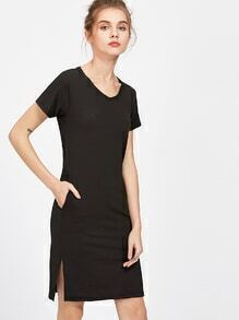 Black Slit Side Sheath T-shirt Dress
