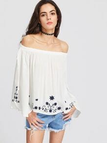 White Off The Shoulder Embroidered Top