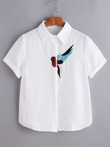 White Bird Embroidered Shirt
