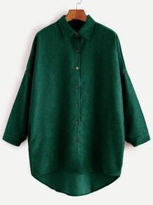 Green Drop Shoulder High Low Shirt