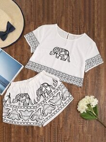 Elephant Print Keyhole Back Crop Top With Shorts