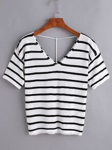 Black Striped V Neck Knitted T-shirt