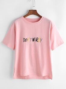 Pink Letter Embroidered Slit Side High Low T-shirt