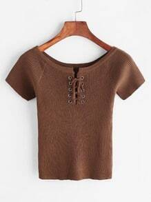 Brown Lace Up Front Ribbed Knitted Crop T-shirt