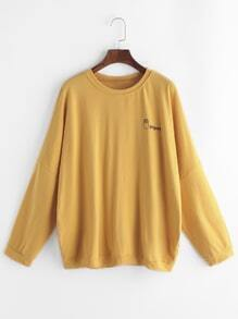 Yellow Letter Print Long sleeve T-shirt