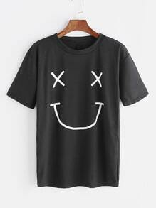Black Smiley Face Print T-shirt