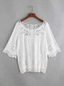 White Embroidered Contrast Crochet Lace Cover Up