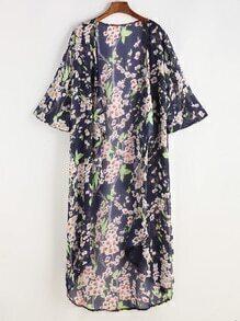 Kimono para la playa con estampado de flor de chifón - marino