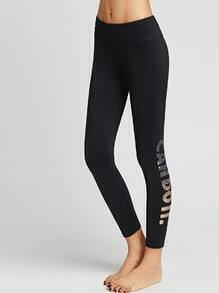 Black Letters Print Leggings