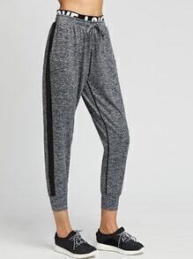 Heather Grey Contrast Trim Letter Tape Detail Pants