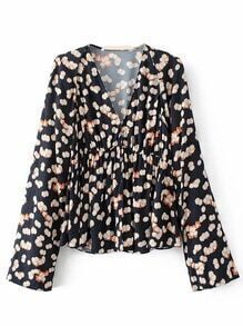 Black Floral V Neck Long Sleeve Blouse