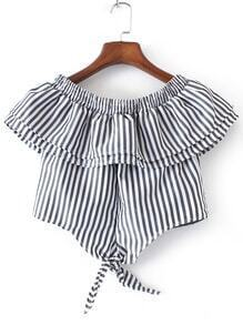 Contrast Striped Boat Neck Knot Detail Crop Blouse