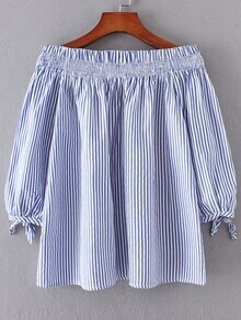 Blue Vertical Striped Boat Neck Tie Cuff Blouse