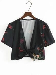 Black Flower Print Knot Front Crop Top