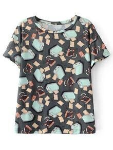 Grey Pattern Print Short Sleeve T-shirt