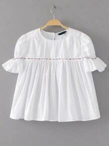 White Beaded Trim Pleated Blouse