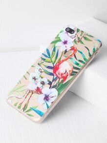 Flamingo And Leaf Print Clear iPhone 7 Plus Case