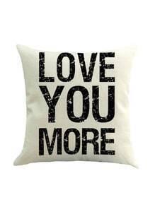 White Letter Print Pillowcase Cover
