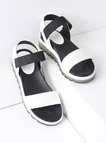 Black And White Flatform Sandals
