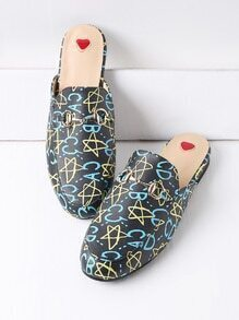 Black Star And Letter Print PU Loafer Mules