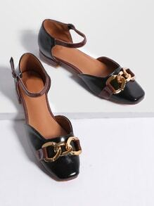 Black Faux Leather Ankle Strap Flats