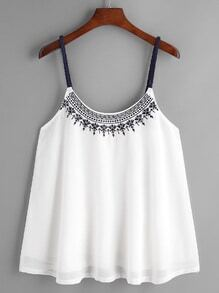 White Embroidered Chiffon Overlay Cami Top