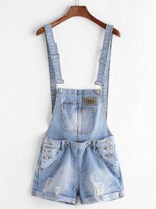 Light Blue Ripped Cuffed Denim Overall Shorts