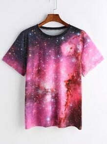 Camiseta con estampado de espacio estrellado