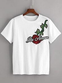 White Embroidered Applique T-shirt