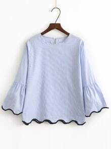 Blue Contrast Binding Bell Cuff Wave Trim Blouse
