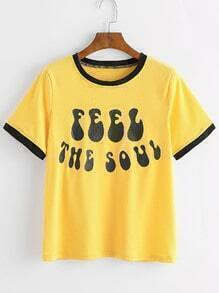 Yellow Contrast Trim Letter Print T-shirt