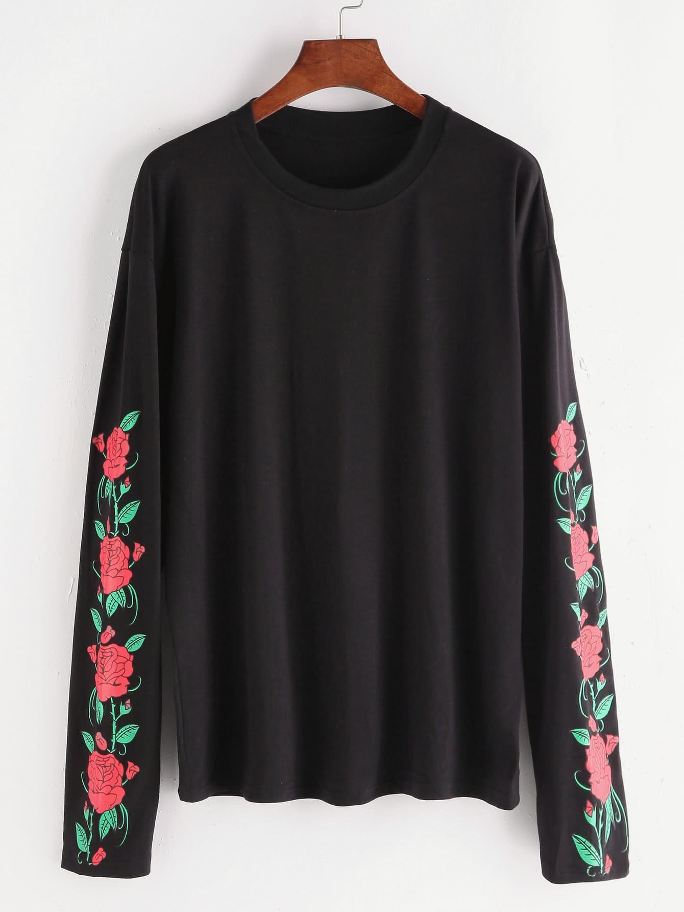 Black Florals Drop Shoulder T Shirt Romwe
