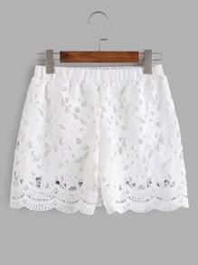 White Elastic Waist Crochet Lace Overlay Shorts