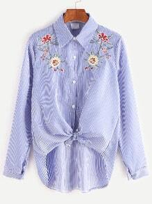 Blue Striped Flower Embroidered Knotted High Low Shirt