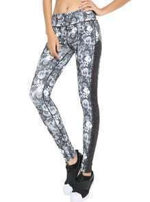 Rose Print Contrast Leggings