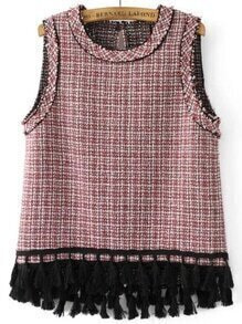 Plaid Fringe Hem Top sin mangas