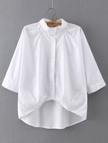 Band Collar Elbow Sleeve Dip Hem Blouse