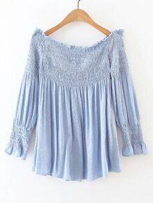 Shirred Off The Shoulder Pleated Blouse