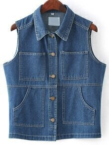 Roll Neck Denim Vest With Pockets