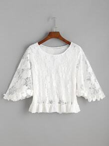 Butterfly Sleeve Frilled Hem Lace Top