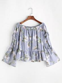 Boat Neck Floral Print Frilled Hem Bow Tie Sleeve Blouse