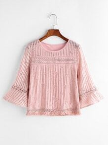 Bell Sleeve Tassle Trim Lace Top