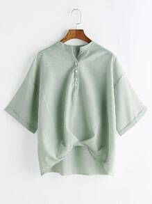 Pale Green Ruched Dip Hem Cuffed Blouse
