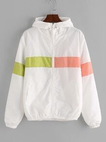 Color Block Elastic Hem Hooded Jacket