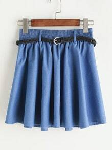 Pleated Denim Skirt With Belt