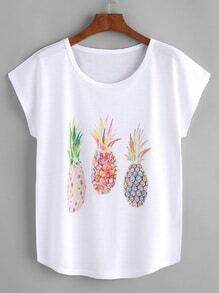Pineapple Print Dolman Sleeve Tee