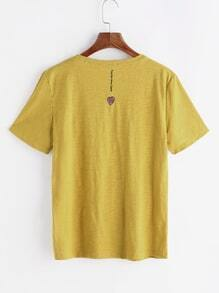 Love Shape Embroidery Slub T-shirt